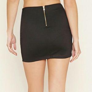 Forever 21 Women's Black Zip-back Mini Skirt